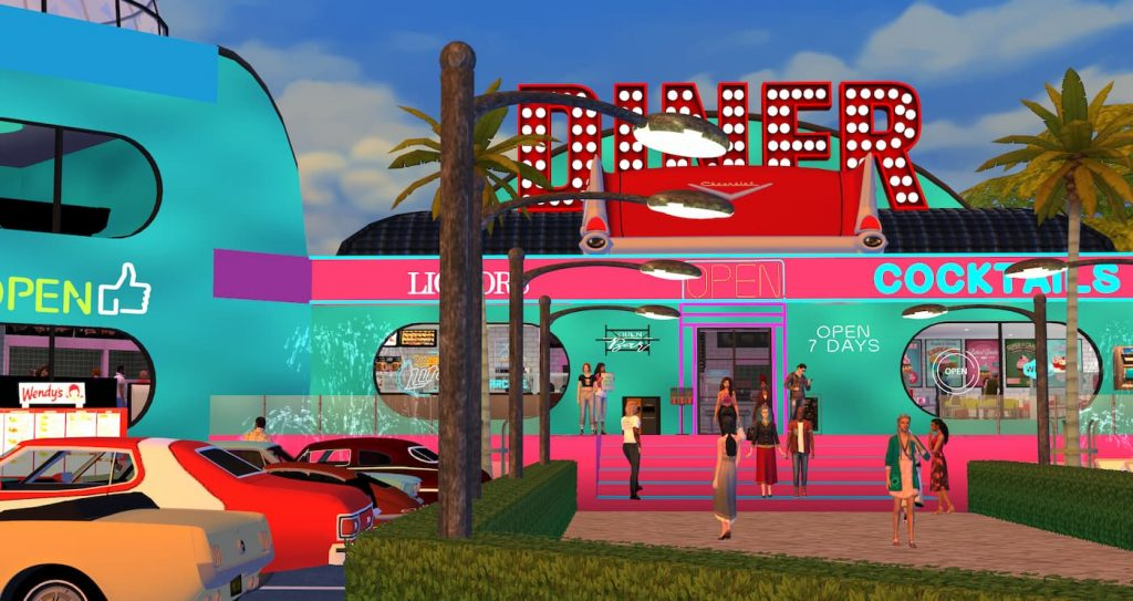American bar diner cafè The sims 4
