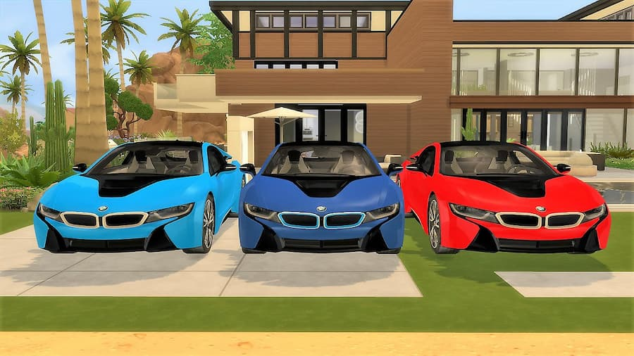 BMW i8 sportiva di lusso the sims 4