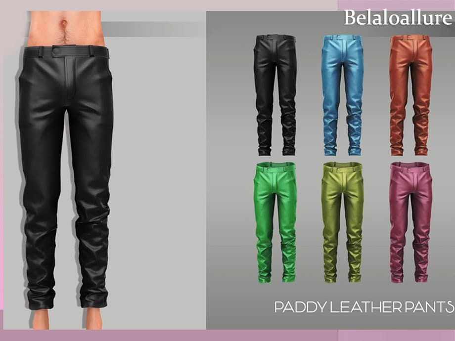 Belaloallure paddy pantalone in pelle uomo the sims 4