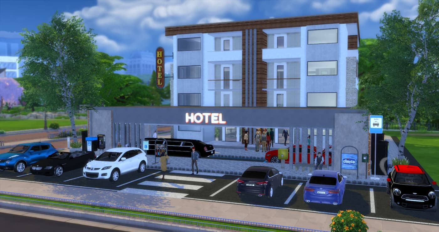 Hotel moderno community lot the sims 4